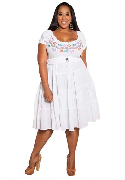 Plus Size Short White Party Dress 29