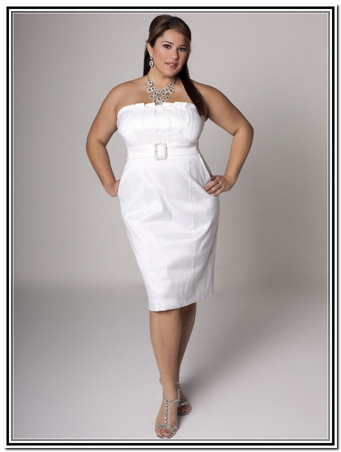 Plus Size Short White Party Dress 44